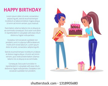 Happy Birthday greeting card, male with gift box and female with festive cake. Vector cartoon people celebrate Bday party, leaflet with text sample