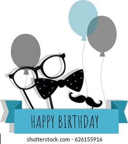 Happy Birthday Greeting Card Mans Accessories Decoration Vector Illustration