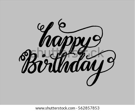 Happy Birthday Greeting Card Modern Calligraphy Stock Vector