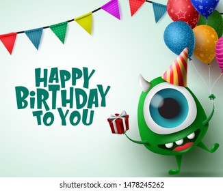 Happy birthday greeting card with monster character vector background template. Happy birthday text in empty space for messages with scary monster and party elements like balloons, and hat.