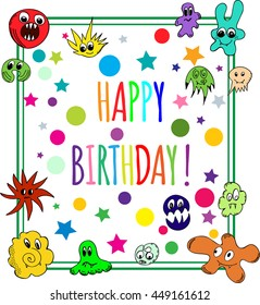 Happy Birthday Greeting Card with multicolored monsters. Vector Illustration