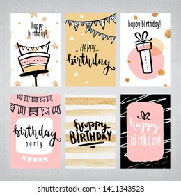 Happy birthday greeting card and party invitation templates, vector illustration