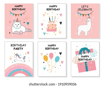 Happy birthday greeting card and party invitation set, vector illustration.Vector illustration, hand drawn style.