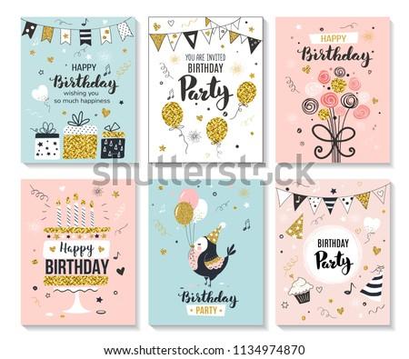 Happy Birthday Greeting Card Party Invitation Wektor