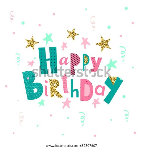 Happy Birthday Greeting Card Party Invitation Wektorowa