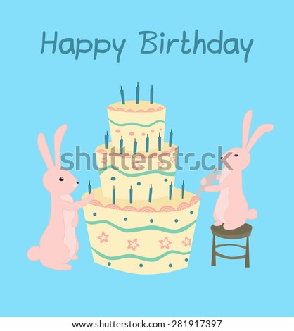 Happy Birthday Greeting Card With Pink Rabbits Making Cake