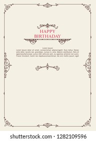 Happy birthday greeting card. Postcard template in retro style. Vintage elements with typography and place for text.