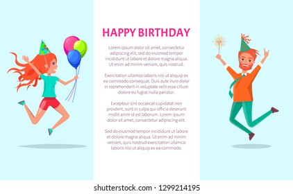 Happy birthday greeting card, redhead man and woman merrily jump on Bday party. Cartoon people in festive hats and sparkler leap of joy with hands up, vector