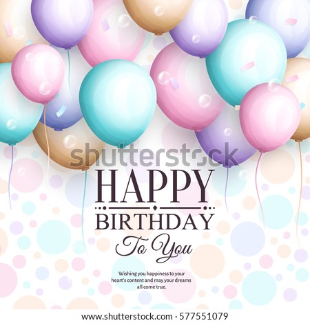 Happy Birthday Greeting Card Retro Vintage Pastel Party Balloons And Stylish Lettering Vector