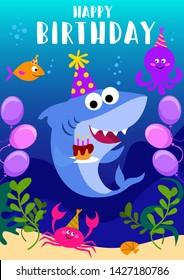 Happy Birthday greeting card with shark, octopus, fish and cartoon sea elements. baby shark birthday greeting card template. Shark party vector illustration