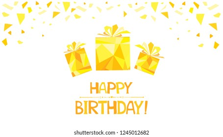 Happy Birthday! Greeting card.  Shiny color gold gift box design element with glitter effect on white background. Gold and white collors place for your text. Horizontal banner. Vector Illustration