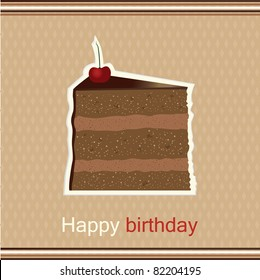 Happy birthday greeting card with slice of cake with a cherry on top vector