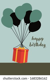 Happy Birthday Greeting Card Template Flat Vector