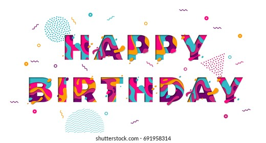 Happy Birthday greeting card template with festive color confetti stars and balloons pattern. Vector birthday congratulation text of modern papercut multi color layers letters.
