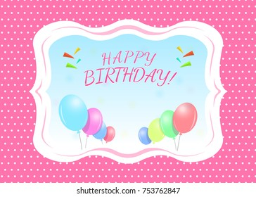 Happy Birthday Greeting Card Template With A Place For Name