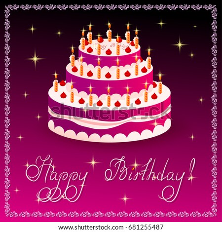 Happy Birthday Greeting Card Template Cake Stock Vector Royalty