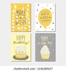 Happy birthday greeting card  templates collection, vector illustration with lettering, hand drawn naive childlike style.