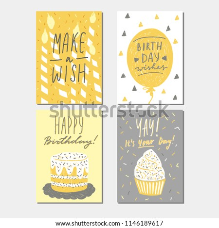 Happy Birthday Greeting Card Templates Collection Vector Illustration With Lettering Hand Drawn Naive Childlike