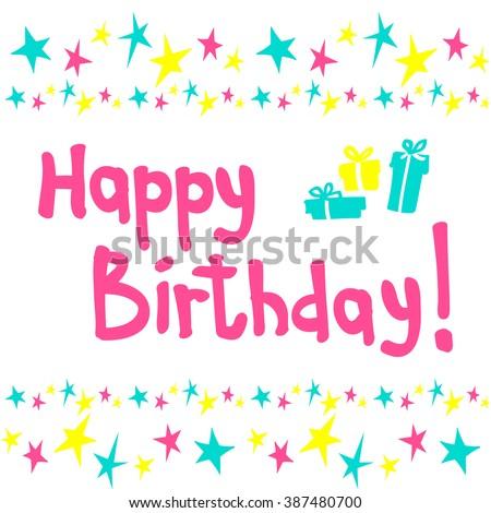 Happy Birthday Greeting Card Text Vector Illustration