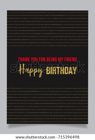 Happy Birthday Greeting Card Text Thank Stock Vector Royalty Free