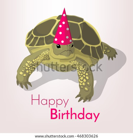 Happy Birthday Greeting Card Tortoise Colorful Stock Vector Royalty