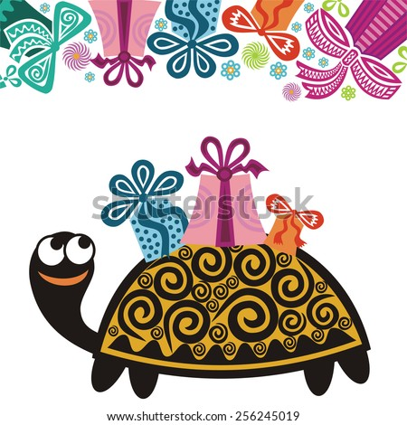 Happy Birthday Greeting Card Turtle Gifts Stock Vector Royalty Free