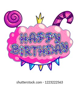 Happy birthday greeting card vector template. Candy lettering on pink bubble gum with candycane, lollipop and festive garland. Cartoon candy shop signboard idea. Birthday banner, poster design element