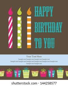 happy birthday greeting card. vector illustration