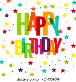 Happy Birthday Greeting Card  Vector EPS 10 illustration.