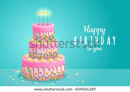 Happy Birthday Greeting Card Vector Illustration Stock Vector