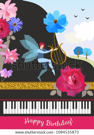 Happy Birthday Greeting Card In Vintage Style Black Grand Piano Winged Elf With Lire