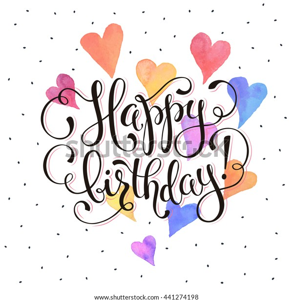 Happy Birthday Greeting Card Watercolor Hearts On White Background With Text Wording Vector