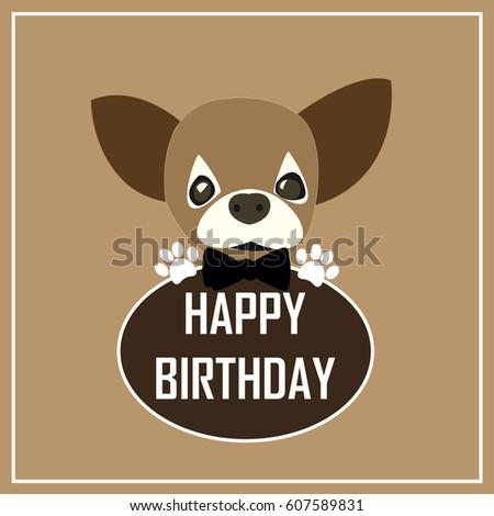 Happy Birthday Greeting CardCute Dog Cartoon