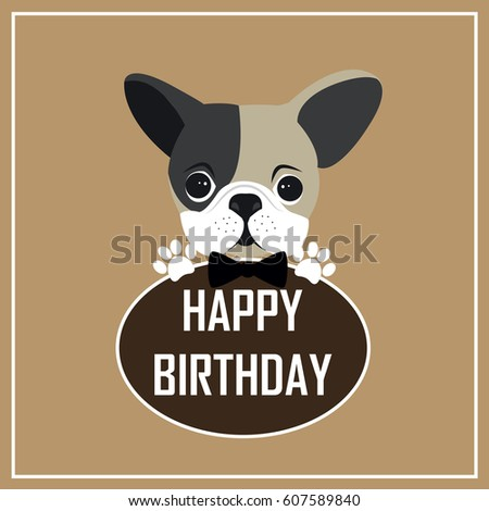 Happy Birthday Greeting Card Cute Dog Cartoon Stock Vector Royalty