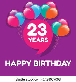 Happy Birthday greeting cards. 23 years - greeting cards and poster with balloon, confetti and gift box