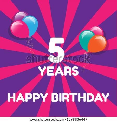 Happy Birthday Greeting Cards 5 Years