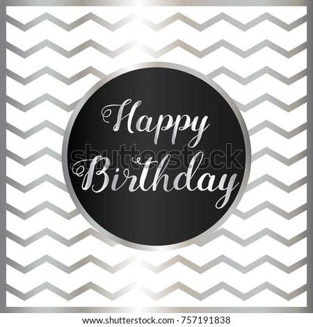 Happy Birthday Greeting Cards Black Silver Stock Vector Royalty