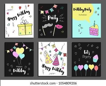 happy birthday greeting card party invitation のベクター画像素材
