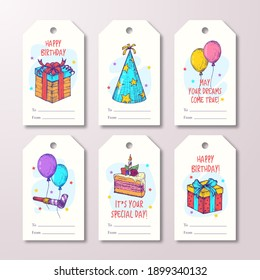 Happy Birthday Greeting Cards or Ready-to-Use Gift Tags or Labels Templates Set. Hand Drawn Cake, Balloons and Gift Boxes Sketch Illustrations. Holiday Celebration Design Layouts Bundle. Isolated.