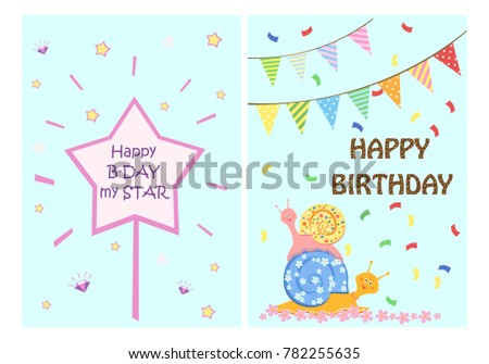 Happy birthday greeting cards templates kids stock vector royalty happy birthday greeting cards templates for kids set of postcards vector illustration m4hsunfo