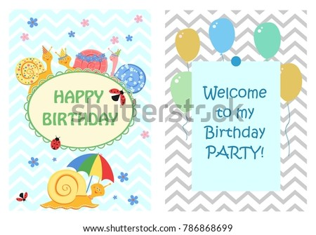 Happy birthday greeting cards templates invitation stock vector happy birthday greeting cards templates and invitation for children a set of postcards funny m4hsunfo