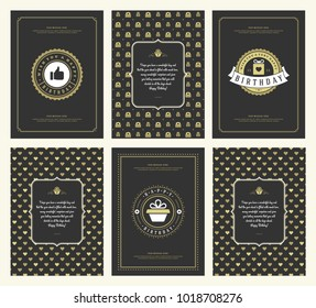 Happy Birthday greeting cards typographic design set vector illustration. Vintage birthday badge or label with wish message and pattern backgrounds.