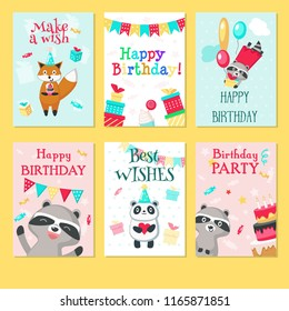 Happy birthday greeting cards. Vector hand drawn templates for kids birthday with cute animals pandas, raccoons, foxes with balloons, gift boxes, cakes, hearts, string flags party decorations.