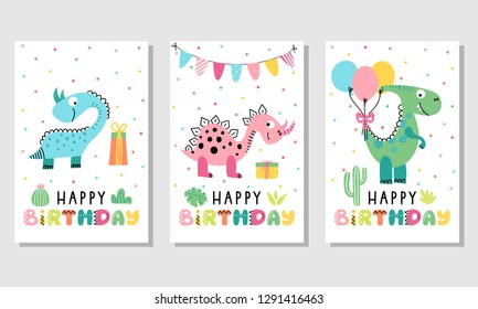 Happy birthday greeting cards. Vector hand drawn templates for kids birthday with cute dinosaurs.