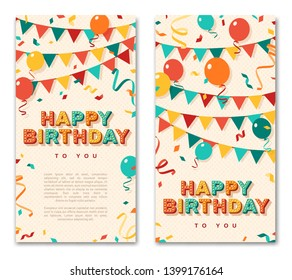 Happy Birthday greeting cards, vertical banners with retro typography design. Vector illustration. 3d colorful letters with vintage light bulbs. Streamers, confetti and hanging bunting.