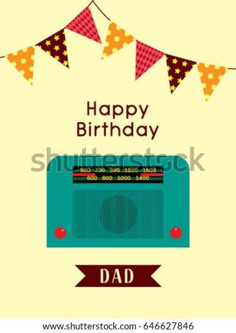 Happy birthday greeting dad vintage radio stock vector royalty free happy birthday greeting to dad with vintage radio graphic m4hsunfo