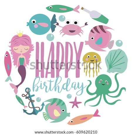 Happy Birthday Greeting Or Invitation Card Template With Cute Mermaid And Sea Animals Vector Illustration