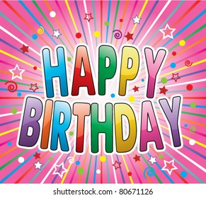 happy birthday greeting on colorful background