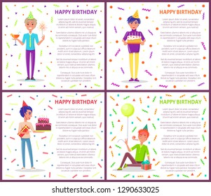 Happy birthday greeting posters with men celebrating Bday. Cartoon male with party horn, festive hat vector on backdrop of tinsels and confetti, gifts