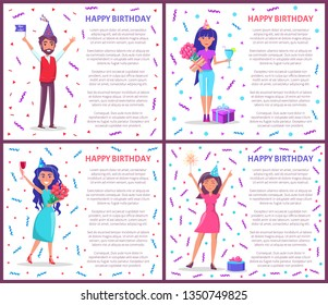 Happy birthday greeting posters people celebrating Bday. Cartoon female and male characters, festive hats vector on backdrop of tinsels and confetti, gifts
